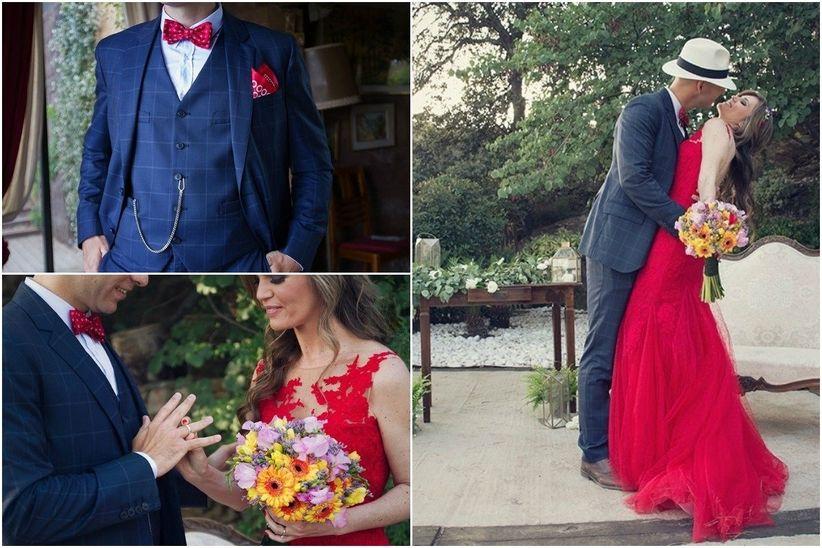 Ella, explosiva con un vestido de corte sirena, escote fantasía e íntegramente de color rojo pasión.