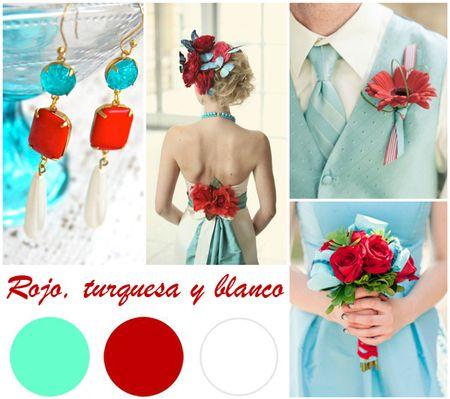 Tu boda en rojo, turquesa y blanco