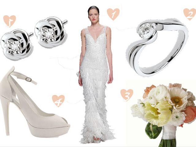 Look de novia con vestido joya
