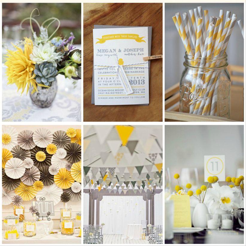 matrimonio en blanco, amarillo y gris
