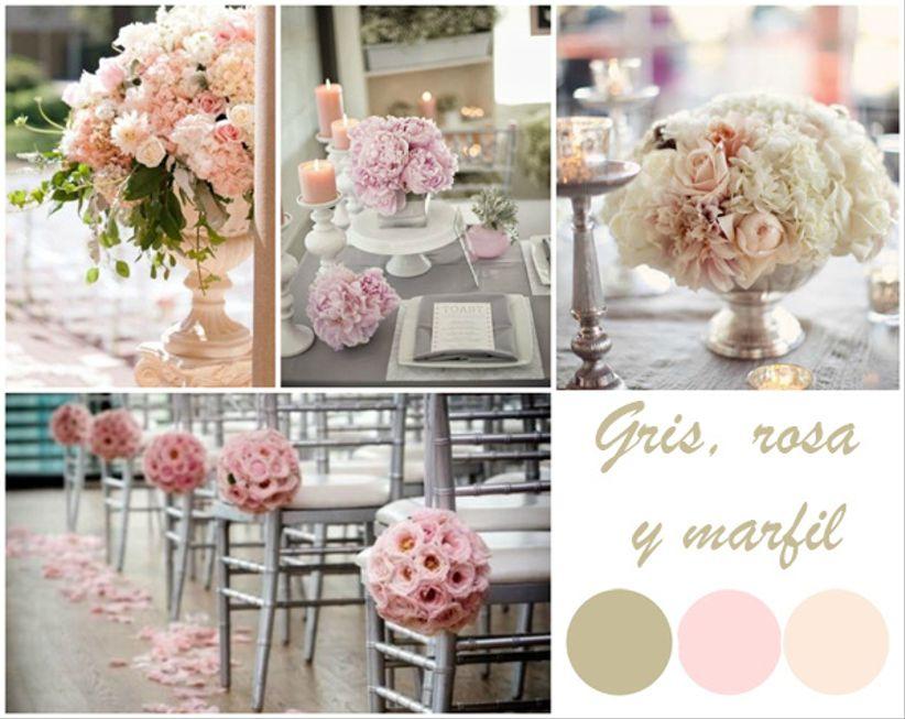 matrimonio en gris, rosado y blanco marfil