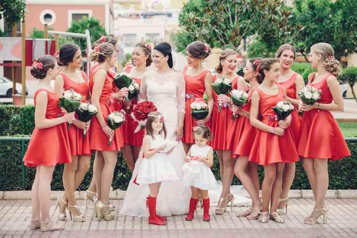 Robes cocktail rouge mariage courte pour demoiselle d'honneur