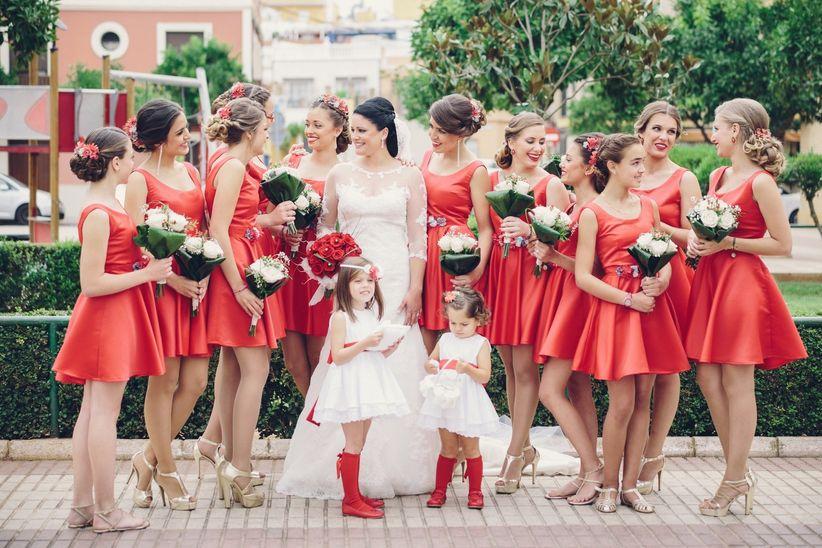 Vestidos para damas de honor rojo con blanco