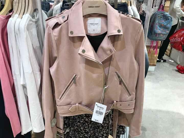 chaqueta de cuero rosa palo