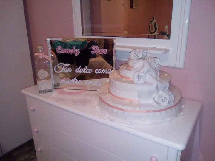 Cartel y tarta para candy bar