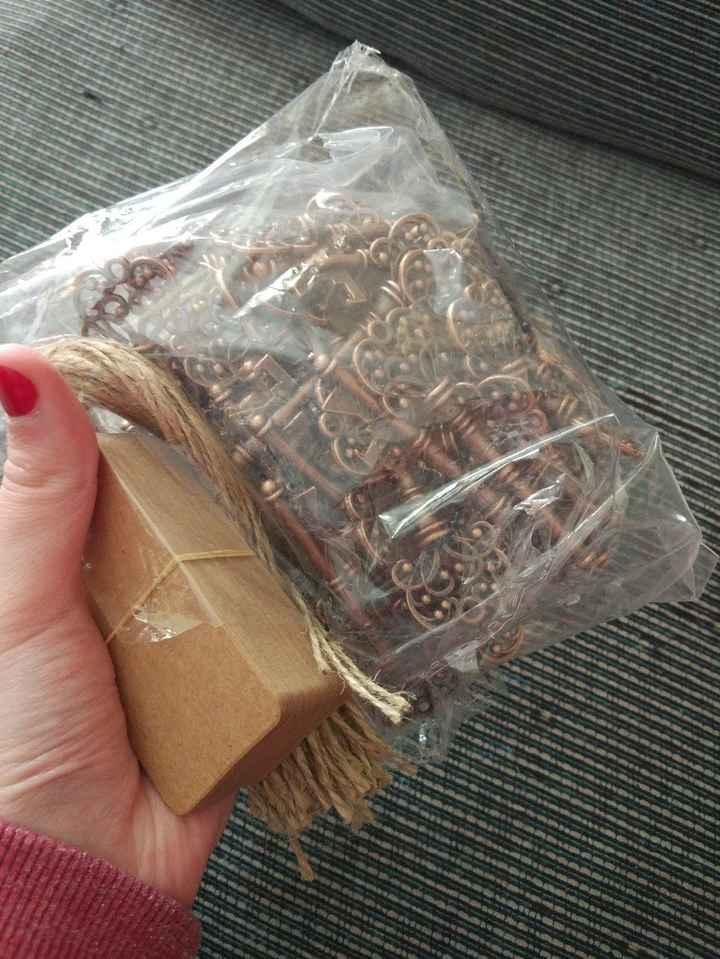 Paquete de llaves con etiquetas e hilos