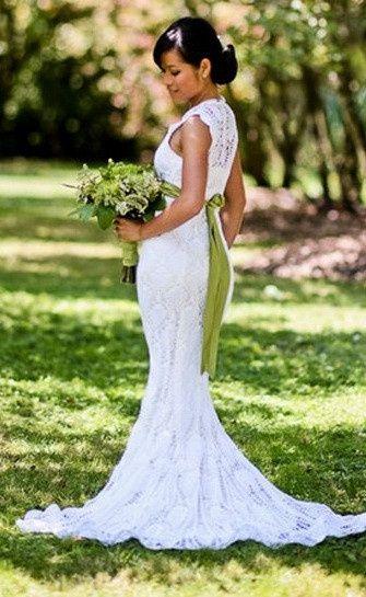 vestido de ganchillo hecho por la propia novia!! - moda nupcial