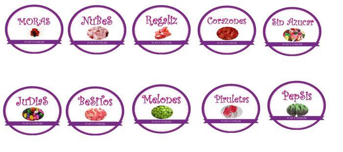 etiquetas candy bar