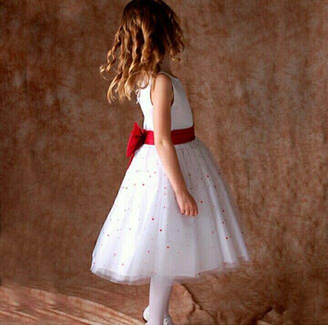 Vestido blanco lazo rojo