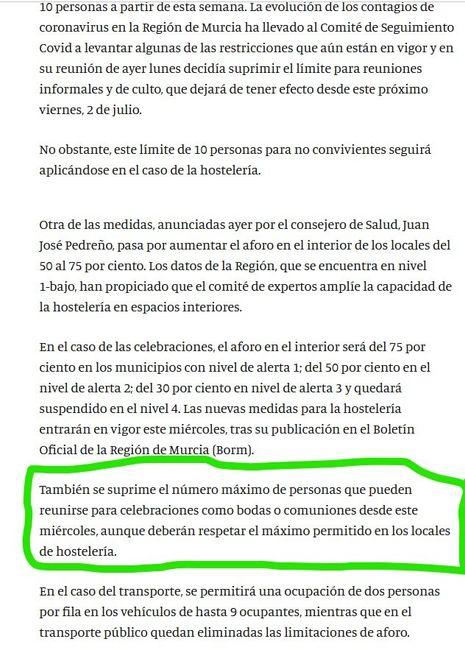 Habrá baile y barra libre (aunque sea con mascarilla en exterior) en Murcia para finales de Octubre