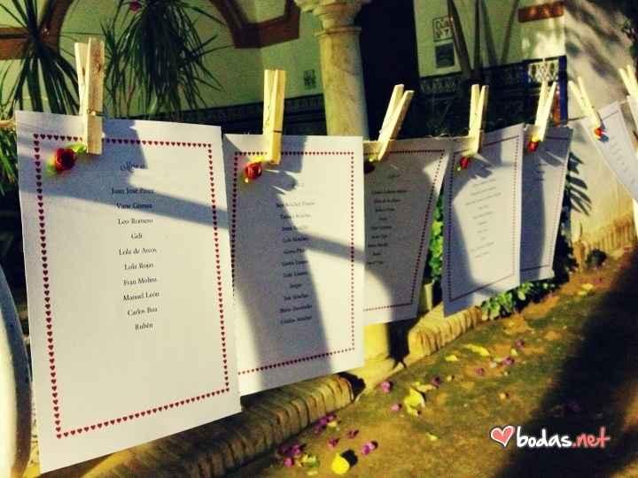 Los carteles de las mesas de mi boda