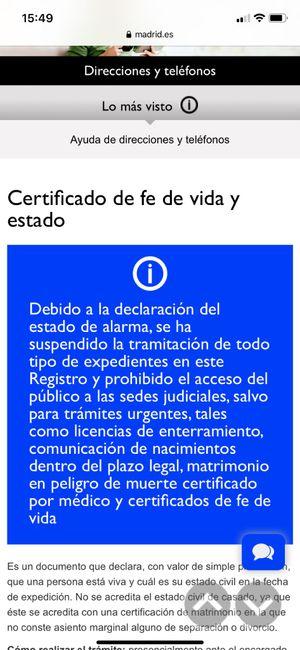 Certificado fe de vida y estado - 1