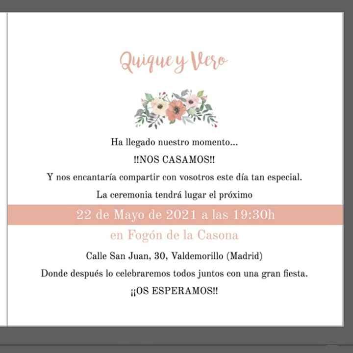Estructura de una invitación de boda civil. - 1