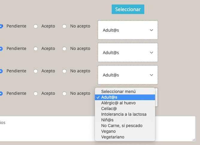 Editar y eliminar menús del organizador de la web Bodas.net - 1