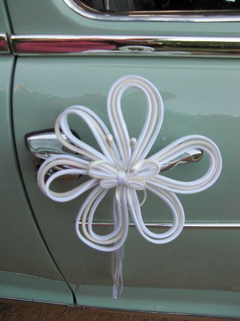 adornos para el coche con lazo de raso