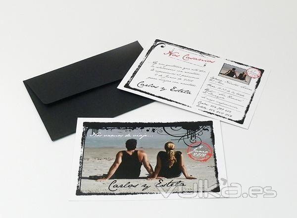 Que os parecen las invitaciones tipo postal organizar - Ideas de bodas baratas ...