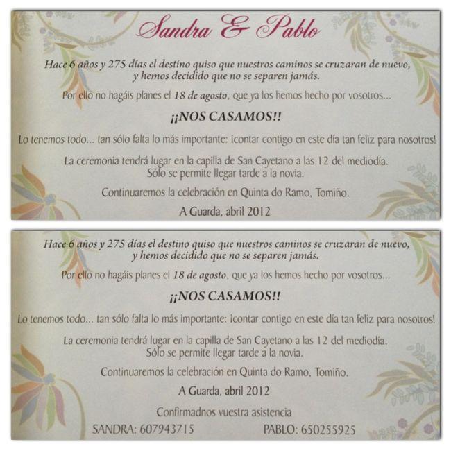 Nuestra invitación de boda