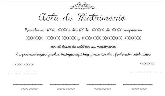Acta De Matrimonio Simbolico : Acta matrimonio ceremonia nupcial foro bodas