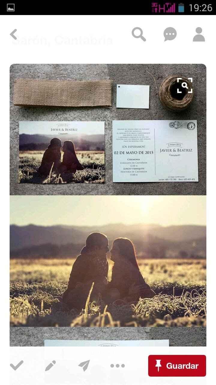 Preciosa y rústica invitación de boda
