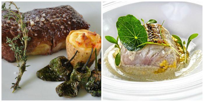 Carne y pescado en el menú de boda