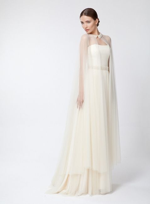 Vestido novia con capa 2015