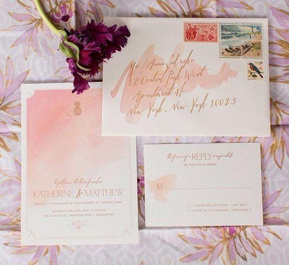 43 Dreamy Watercolor Inspired Wedding Ideas: Invitaciones De Boda Tropicales. ¡Escoge La Mejor!