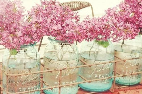 Tarros de cristal con flores silvestres