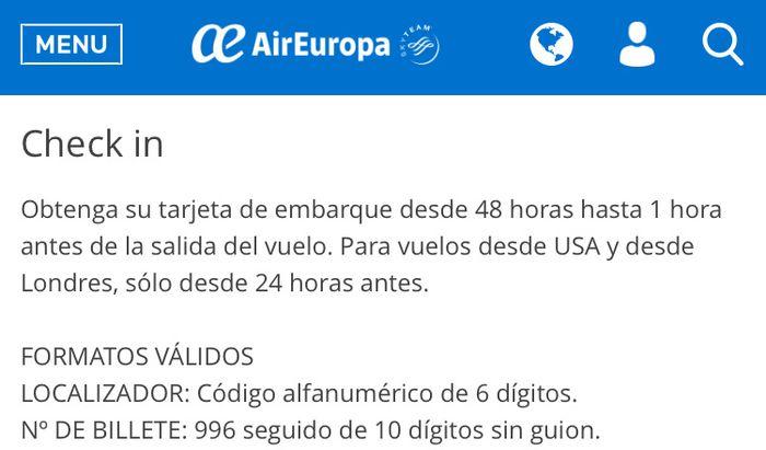 Asignacion asientos Air Europa 2