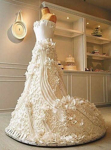 tartas con forma de vestidos de novia - banquetes - foro bodas