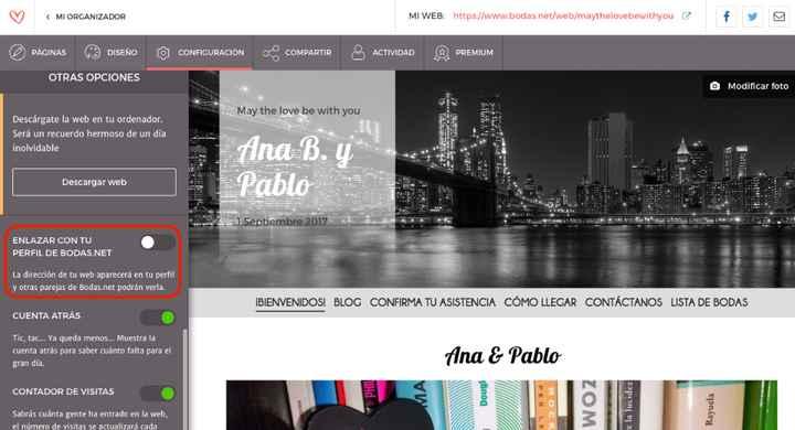 compartir web en perfil