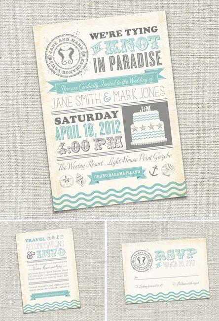 invitaciones boda playa