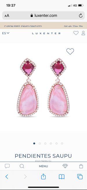 Pendientes plata rosados - 1
