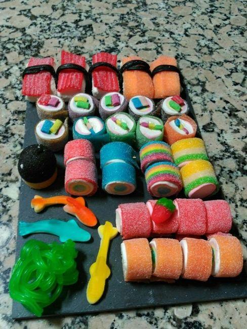 Cómo presentar las chuches en mesas dulces 3