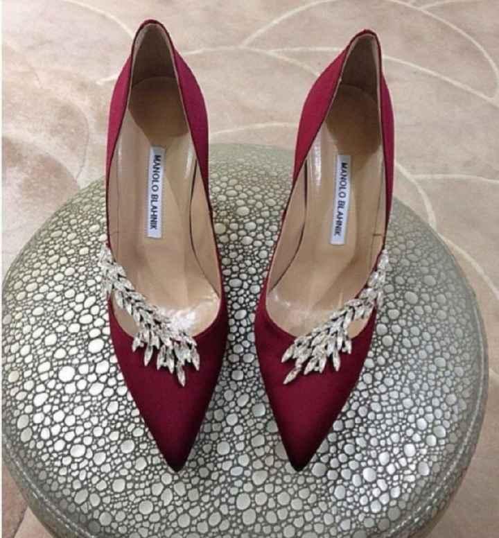 Zapatos novia color granate//vino - 1