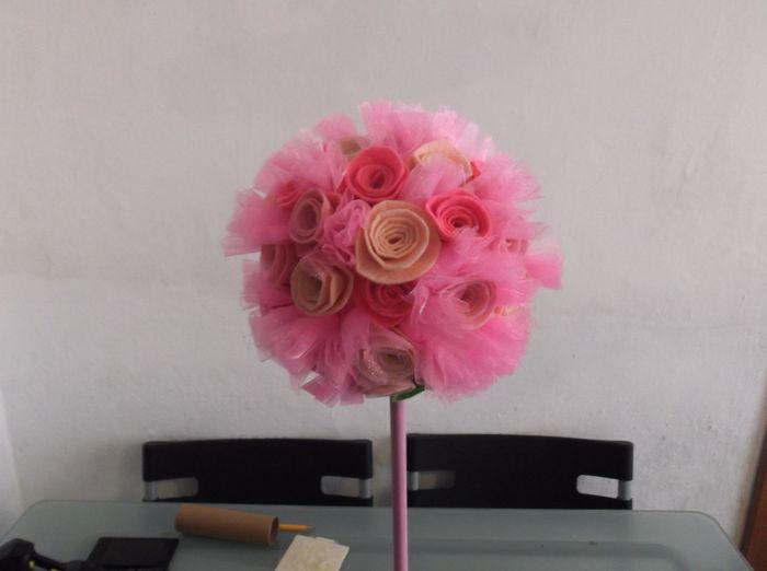 Tutorial topiario de flores de fieltro y tul 9