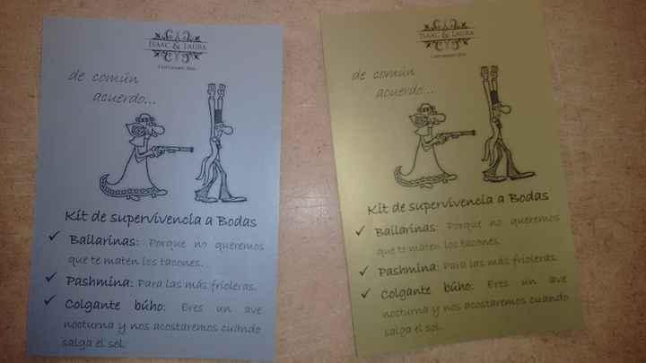 """tarjetas """"kit supervivencia a bodas"""""""
