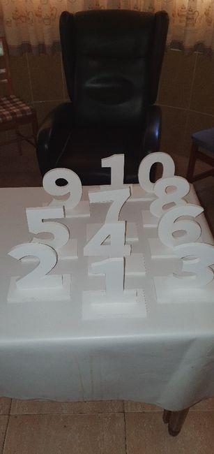Números para las mesas. 1