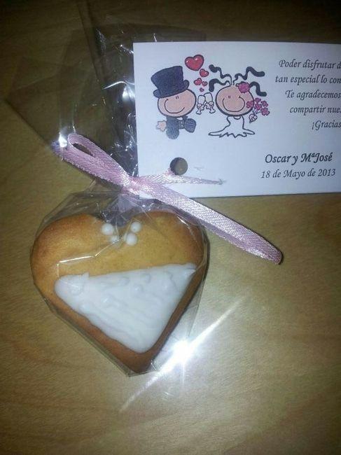 galleta novia envuelta con tarjeta agradecimiento