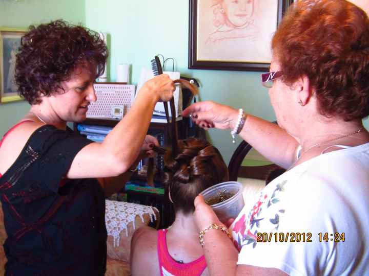 realizandome el peinado