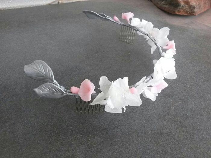 Tocado de hojas en plata - 1