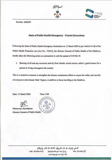 Declaración estado de emergencia en Maldivas 1