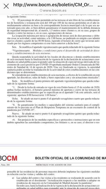 Medidas BOCM Madrid 2
