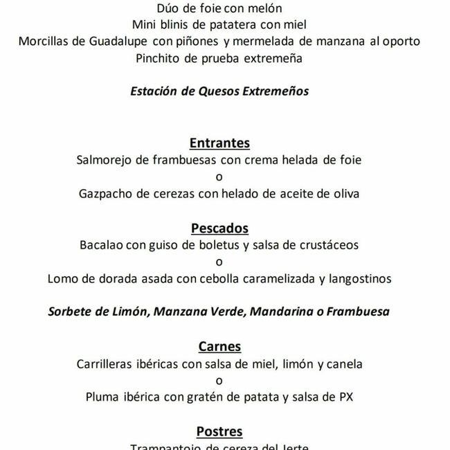Dudas al escoger menú en Hospes Palacio de Arenales - 2