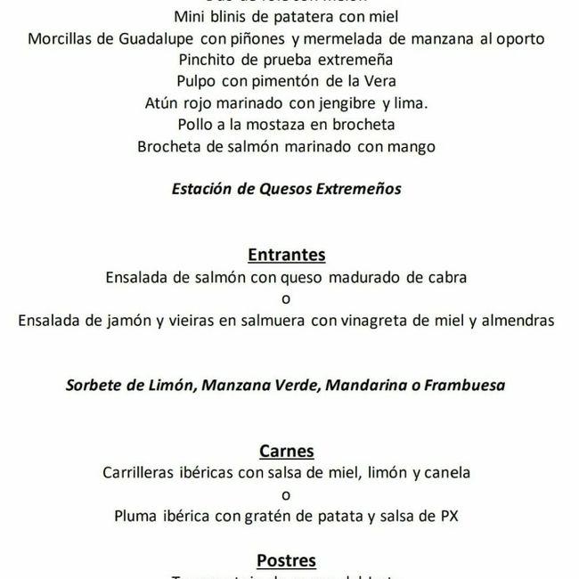 Duda al escoger menú en hotel Hospes Palacio de Arenales de Cáceres 1