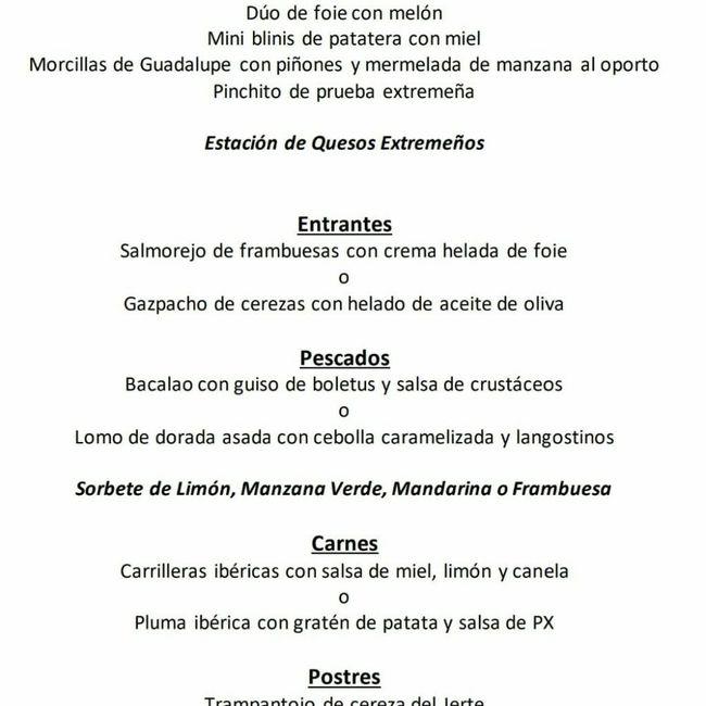 Duda al escoger menú en hotel Hospes Palacio de Arenales de Cáceres 2