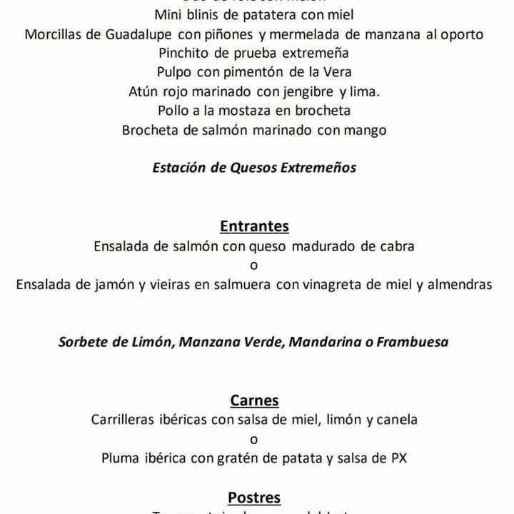 Duda al escoger menú en hotel Hospes Palacio de Arenales de Cáceres - 1