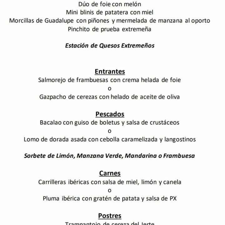 Duda al escoger menú en hotel Hospes Palacio de Arenales de Cáceres - 2