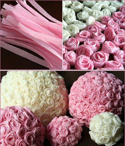 topiarios de flores de papel crepe