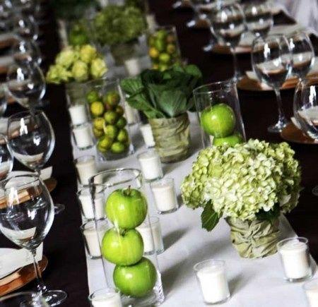 Bodas tematicas por colores verde organizar una boda - Centros de mesa con limones ...