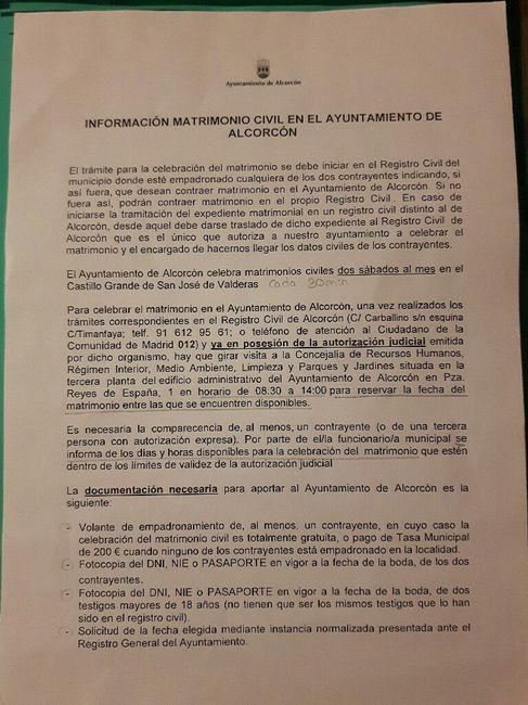 Documentos boda civil alcorcón 2017/2018 - 2